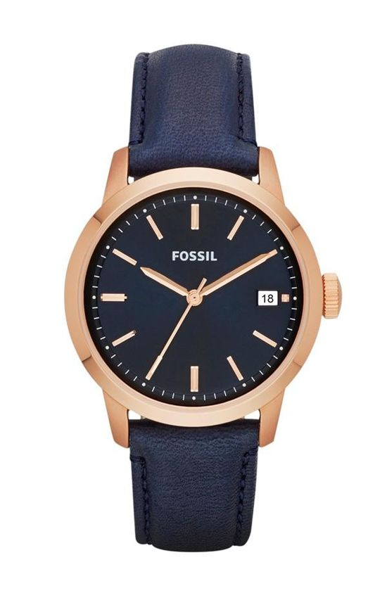 Keep time with a classic navy & rose gold watch.