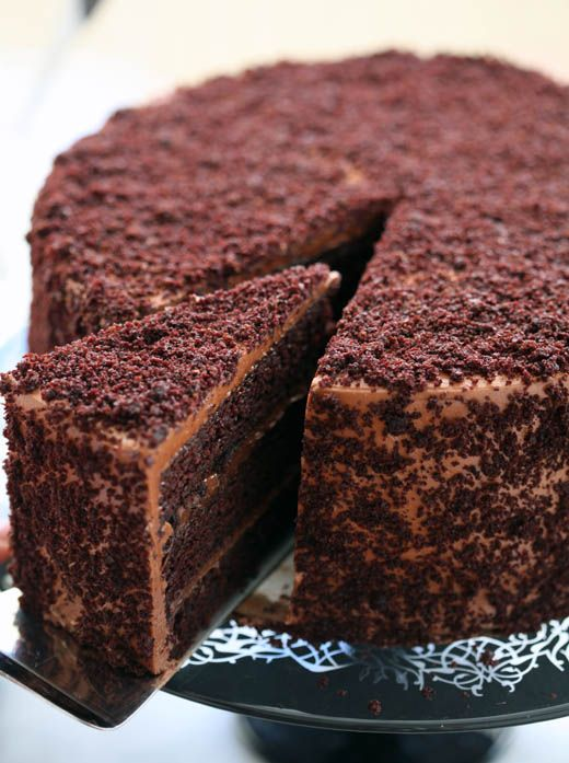 chocolate blackout cake + chocolate pudding-style buttercream