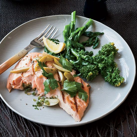 Grilled Salmon with Preserved Lemon and Green Olives // More Delicious Salmon Recipes: www.foodandwine.c... #foodandwine
