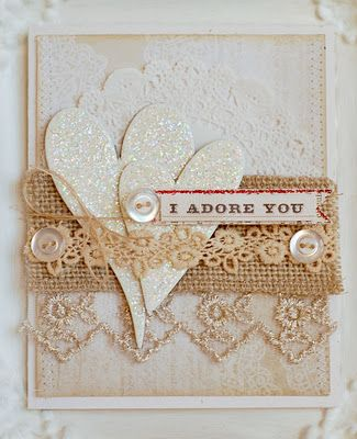 Valentine card, crochet lace and buttons