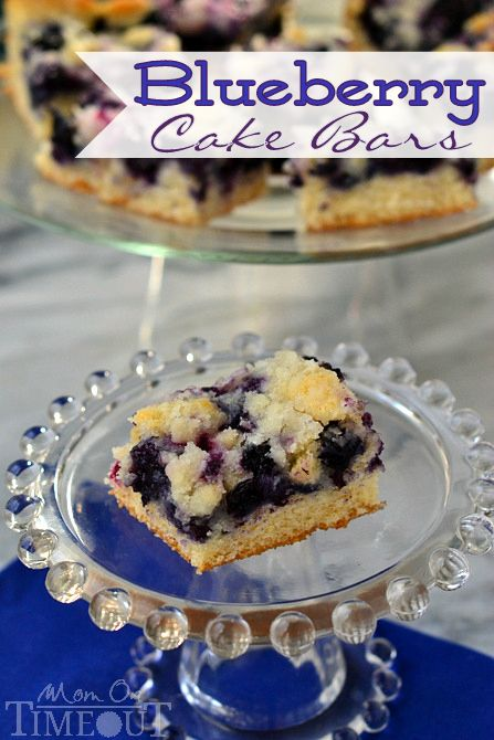 Blueberry Cake Bars from MomOnTimeout.com #blueberry #cake
