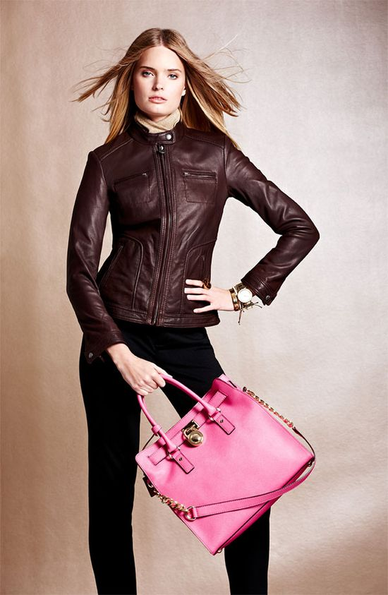 Family Gathering: MICHAEL Michael Kors Leather Jacket, Pants & Tote #Nordstrom #Holiday
