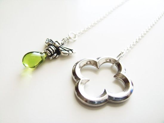Honey and Clover Necklace  Silver and Green by petitehermine, $20.00