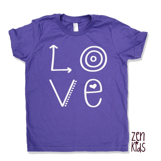 LOVE Kids T Shirt in Purple - american apparel Sizes 2 4 6 8 10 & 12