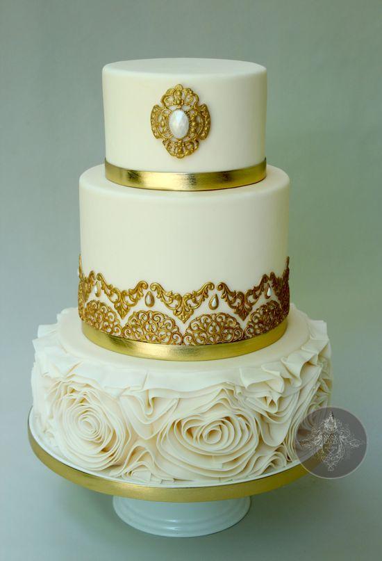 Gorgeous gold & white wedding cake b Way Beyond Cakes