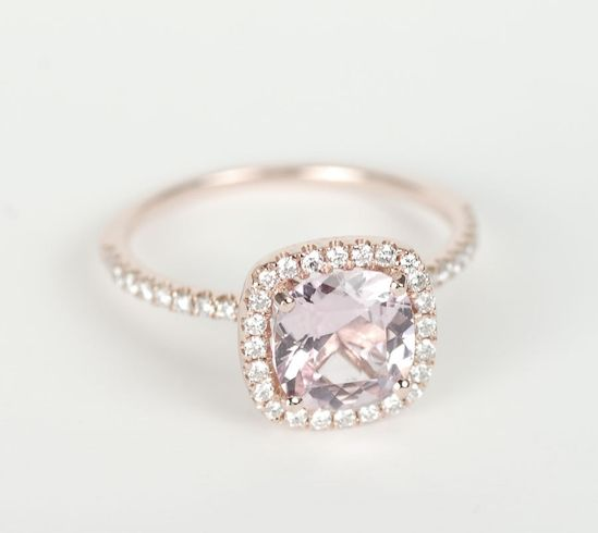 1.66 ct Peach Pink Cushion Sapphire Diamond Halo Engagement Ring 14K Rose Gold