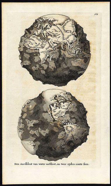 World without water.  (Den Aardkloot van water ontbloot, na twee zijden aante sien.)  Dutch, 1690.