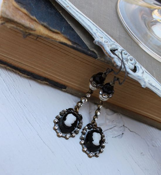 Vintage Cameo and Rhinestone Dangling Assemblage Earrings~