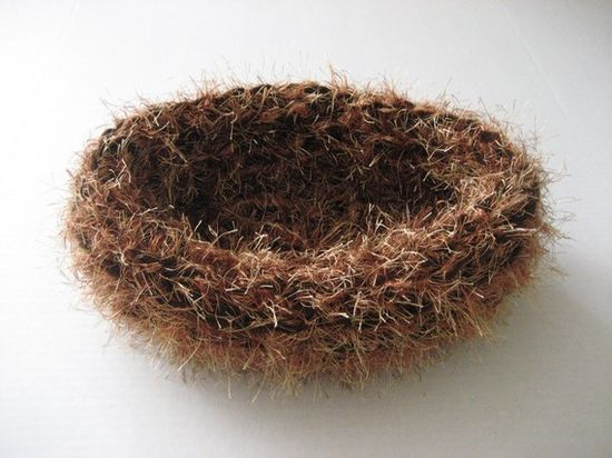 SALE - Fuzzy baby nest newborn photography prop egg pod bowl in brown/coppery mix or any color- great photo prop.