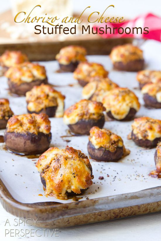 Chorizo and Cheese Stuffed Mushroom Recipe #holidays #appetizers #mushrooms #party