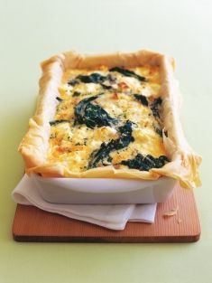 Spinach and three-cheese pie