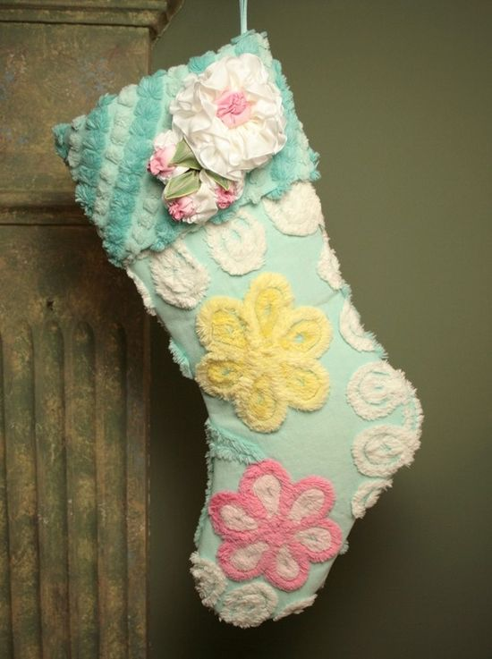 Christmas stocking made from vintage chenille.