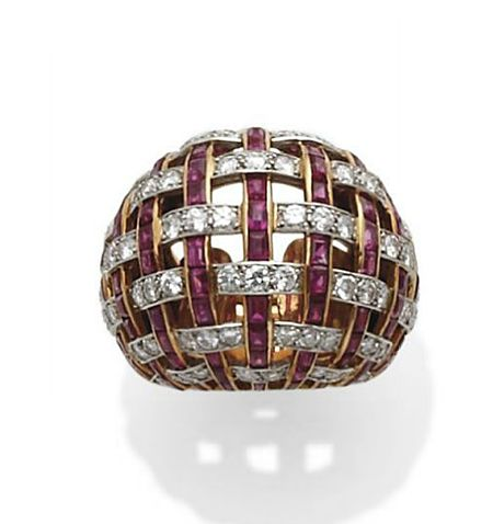 Ruby, diamond, gold and platinum ring by Cartier, circa 1960.