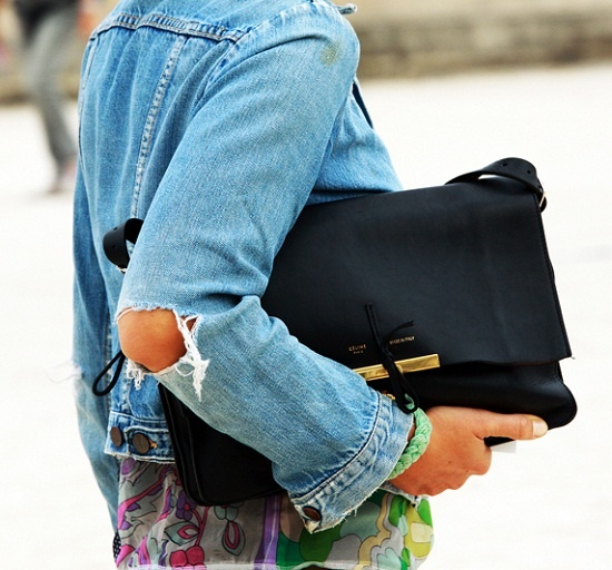Ripped denim + celine