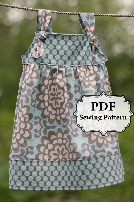 PDF Apron Knot Dress Sewing Pattern Sizes 3m - Girls 8. $7.00, via Etsy.