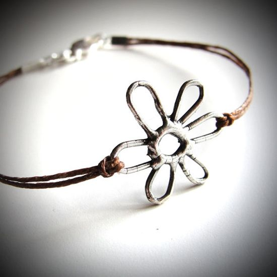 Sterling May Flower bracelet on linen (you choose the color!) by JewelryByMaeBee on Etsy, $22.00