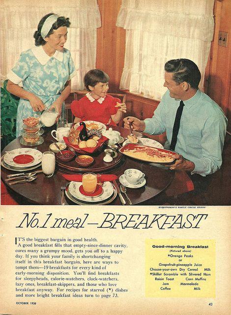 Remember, breakfast is the no. 1 meal! #vintage #1950s #menus #food