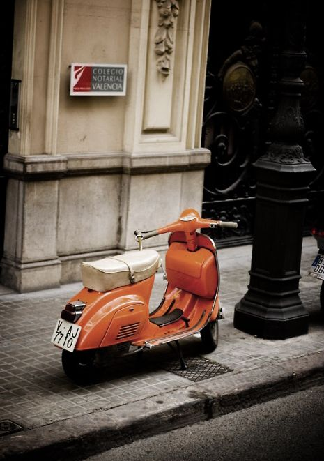orange vespa in Valencia