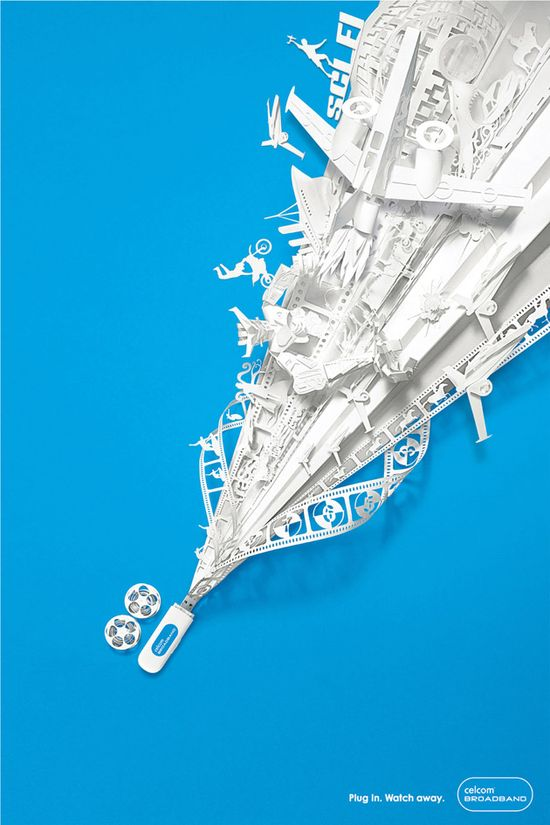 Plug in and blast off with this intricately detailed advertising campaign for Celcom Broadband by agency M Saatchi showcasing epic amounts of broadband coverage in paper.