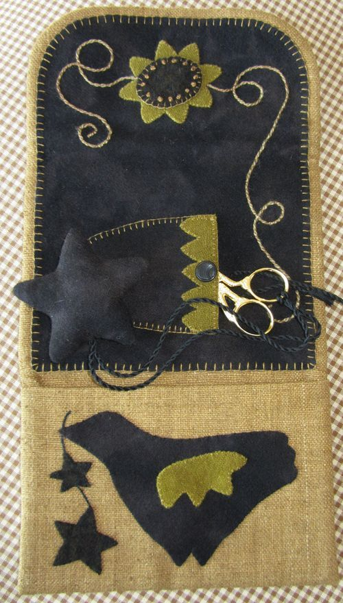 sewing kit - love the crow
