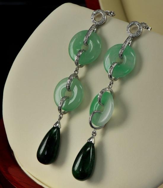 Exquisite very long jade and diamond vintage drop earrings.  via Etsy.