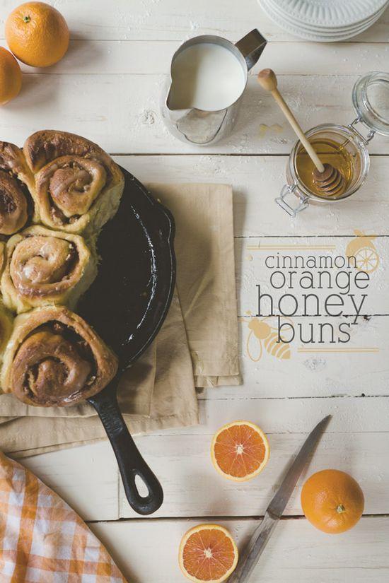 I LOVE, LOVE, LOVE orange sweet rolls!!!!!   cast iron skillet cinnamon orange honey buns from @Russell van Kraayenburg