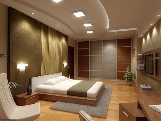 Minimalist Interior Decoration for Modern Residence : Low Profile Bed Cool Ceiling Lights Minimalist Interior Decoration Indoor Plant