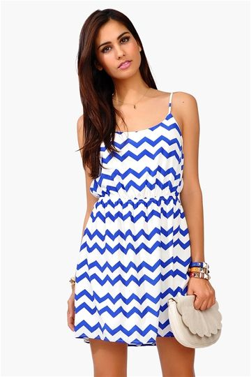 Captive Tank Dress - Blue/White
