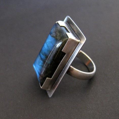 Rectangular Labradorite Ring, Handcrafted