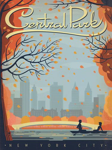 Central Park - New York city - #vintage #travel #poster #USA
