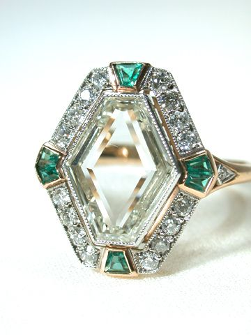 1925 Art Deco Diamond and Emerald Ring .