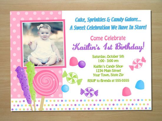 Custom Candy Birthday Invitation - Digital File (Printing Available). $10.00, via Etsy.