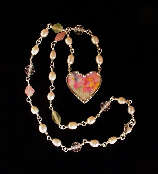 Broken China Jewelry beaded heart pendant necklace Marion chintz, sterling silver, pearls