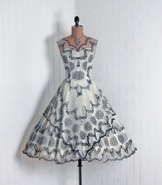 Couture Cocktail Dress: 1950's, flocked floral nylon chiffon.