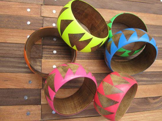 Neon wood bangles