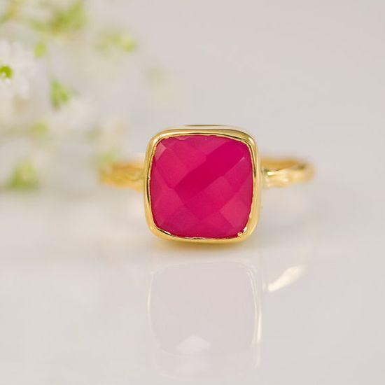 Fuschia Pink Chalcedony Ring