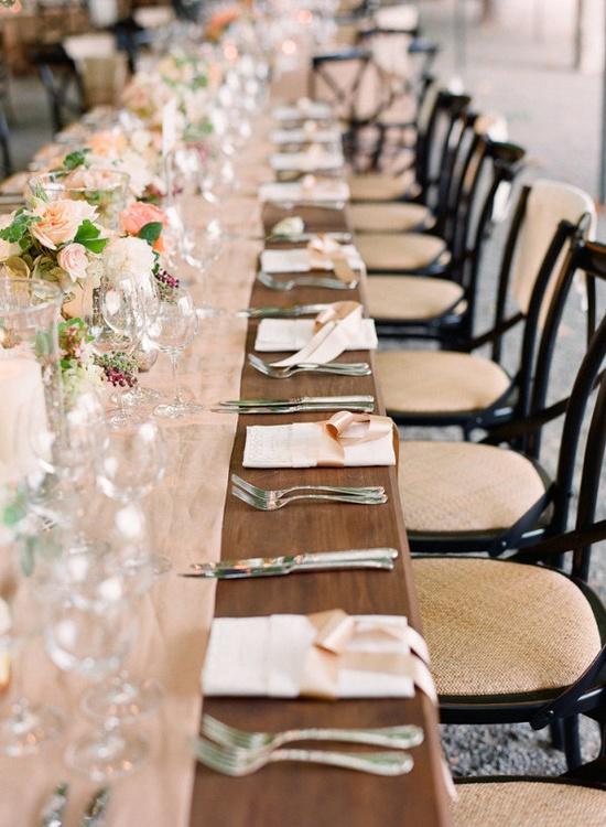 elegant peach tablescape