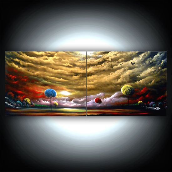 retro metallic gold landscape painting sunset bird by mattsart, $299.00