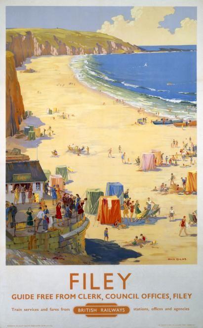 Filey vintage travel poster, Ellis Silas