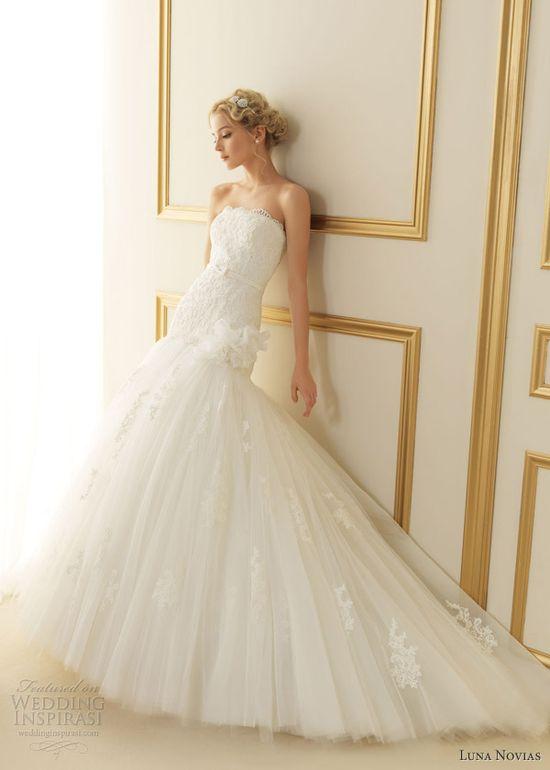 Luna Novias 2013. thais strapless wedding dress