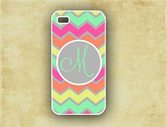 Monogram iPhone 4 case -  Pastel rainbow chevron with neon pink - custom Iphone 4 cover (9879). $16.99, via Etsy.