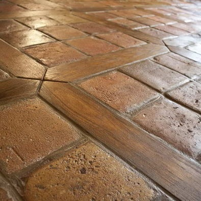 Tile and wood together...I soooo want this floor!!