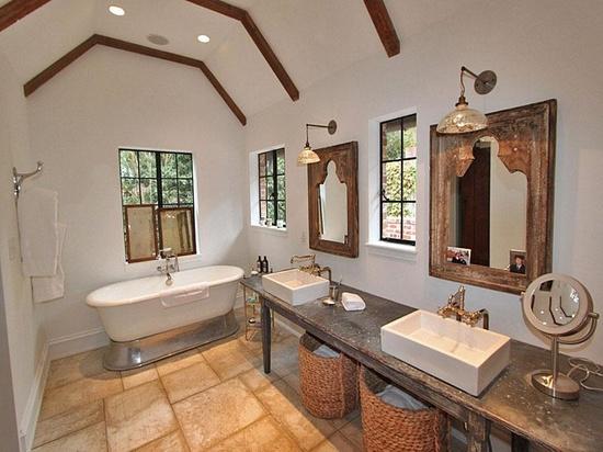 Lake house bath rustic