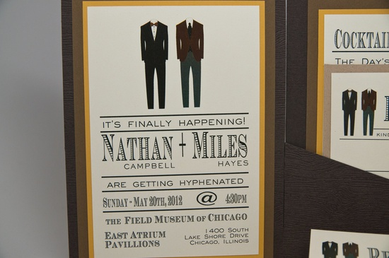Masculine Wedding Invitations featuring two suits