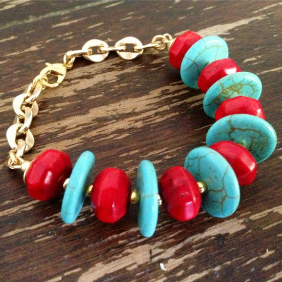 Turquoise and Red Bracelet Gold Jewelry by jewelrybycarmal on Etsy, $58.00