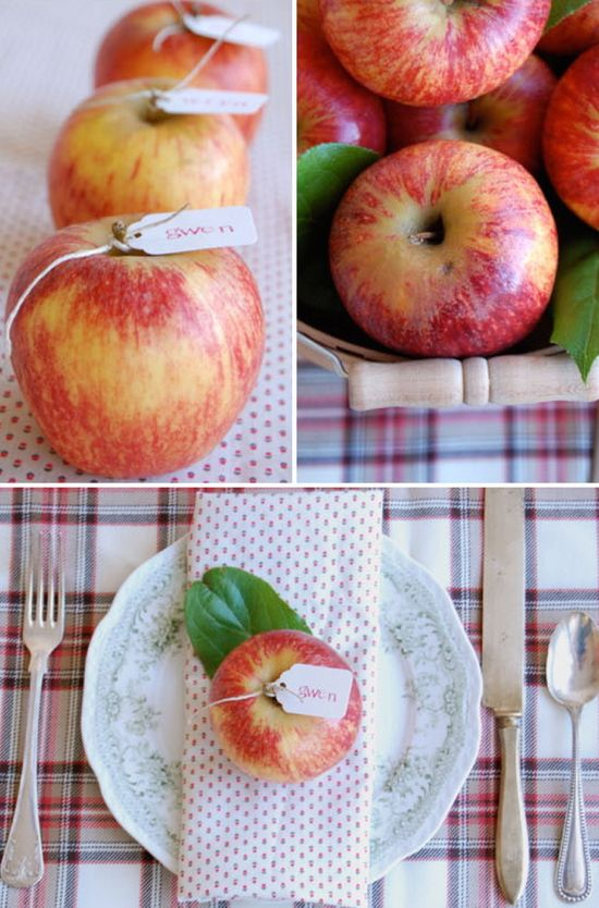 apples - perfect for a fall wedding   place setting