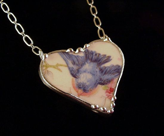 Antique bluebird china broken china heart necklace Dishfunctional Designs