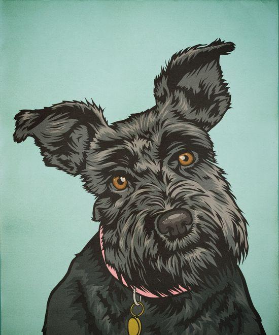 Cute cute dog illustration.