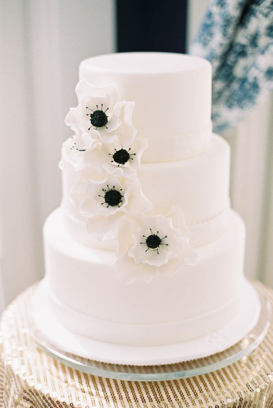 simple white and black wedding cake