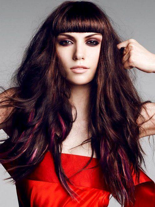 Pink highlights on dark brown / chestnut hair